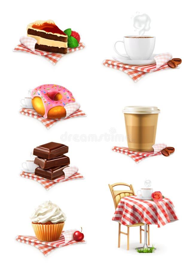 Czekolada, babeczka, tort, filiżanka kawy i pączek, royalty ilustracja