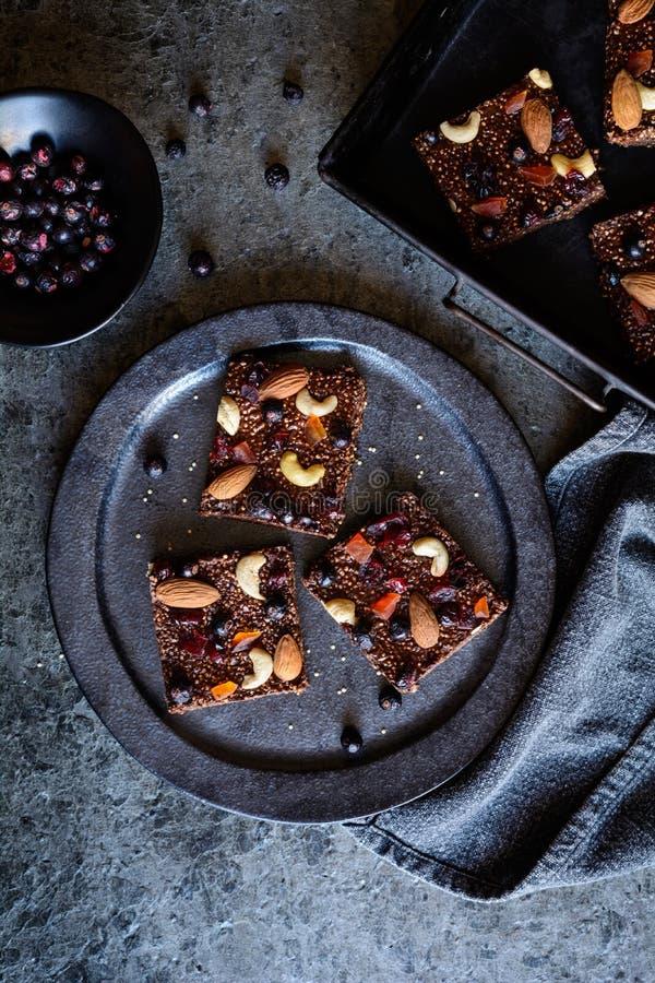 Czekolada chuchał quinoa bary z liofilizującym czarnym rodzynkiem, candied melonowem, nerkodrzew dokrętkami, migdałami i cranberr obraz royalty free