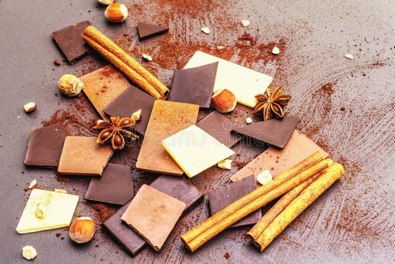 Czekolada o różnej zawartości kakao zdjęcie stock