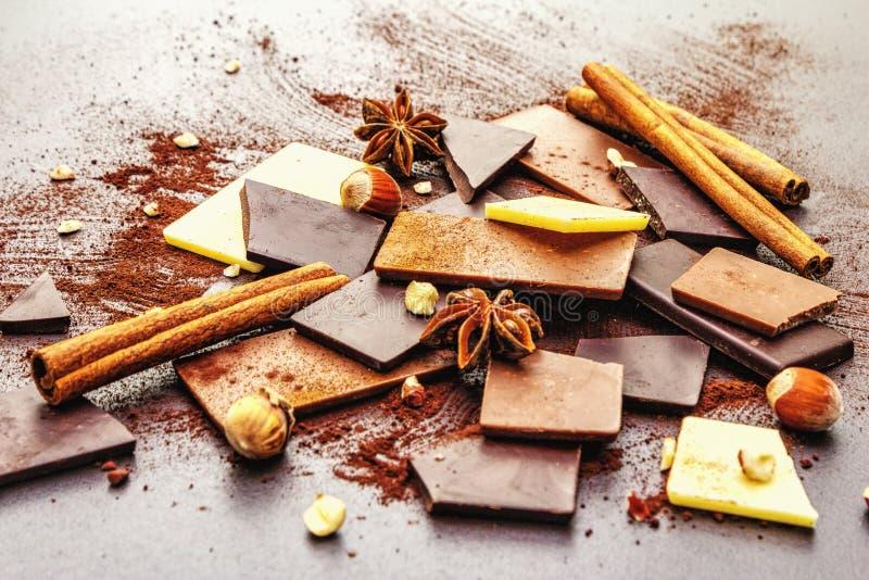 Czekolada o różnej zawartości kakao zdjęcie royalty free