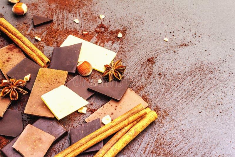 Czekolada o różnej zawartości kakao zdjęcia stock