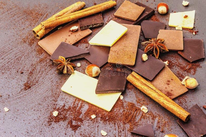 Czekolada o różnej zawartości kakao obraz stock