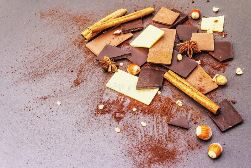 Czekolada o różnej zawartości kakao obrazy royalty free