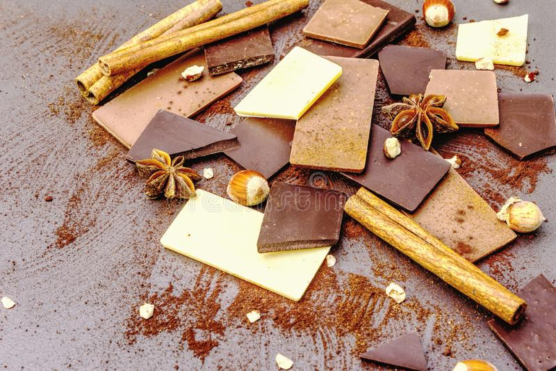 Czekolada o różnej zawartości kakao fotografia stock