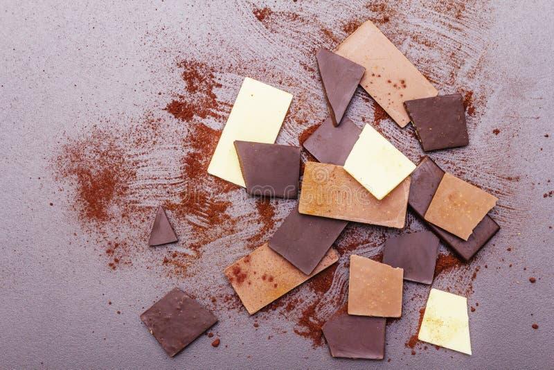 Czekolada o różnej zawartości kakao obraz royalty free