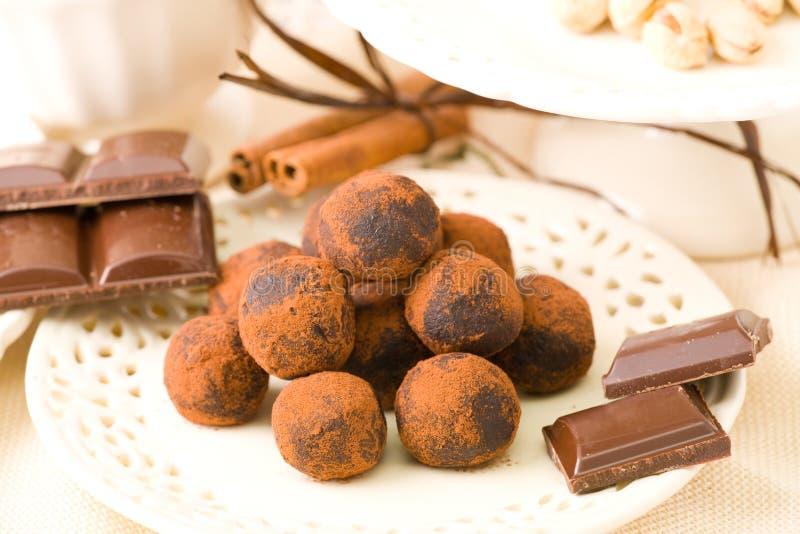 czekoladki ręcznie obraz stock
