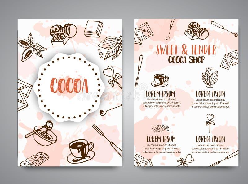 Czekoladowa cacao nakreślenia broszurka Projektuje menu dla restauraci, sklep, ciasteczko cukierniany, kulinarny, bufet, bar kaka royalty ilustracja