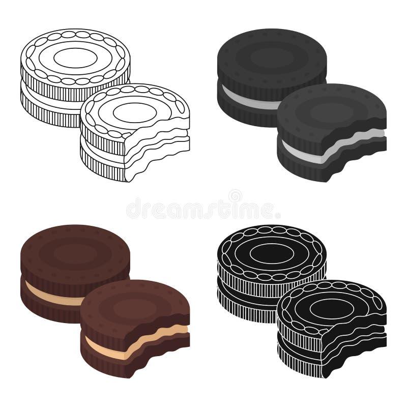 Czekoladowa kanapek ciastek ikona w kreskówka stylu odizolowywającym na białym tle Czekoladowy deseru symbolu zapasu wektor ilustracji