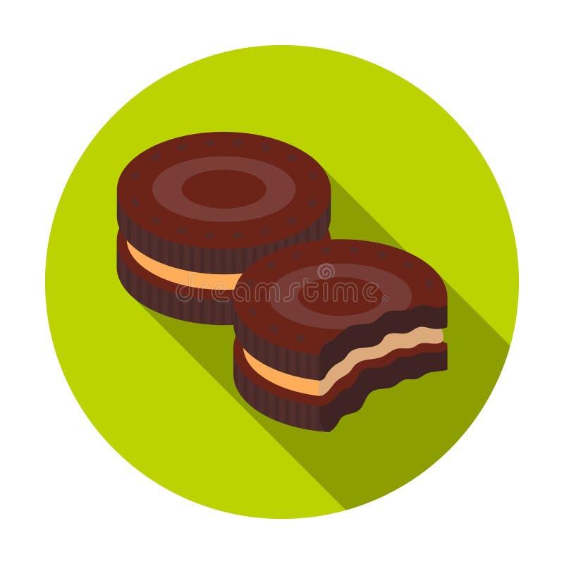 Czekoladowa kanapek ciastek ikona w mieszkanie stylu odizolowywającym na białym tle Czekoladowy deseru symbolu zapasu wektor ilustracja wektor