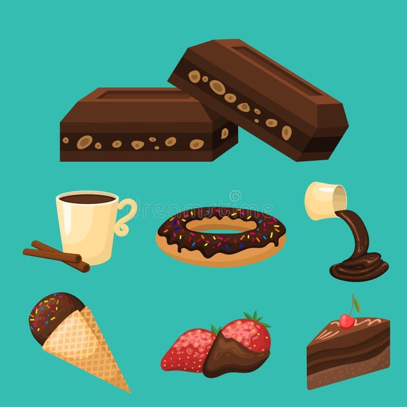 Czekoladowa różnorodna smakowita cukierków i cukierków przekąski wektoru słodka brown wyśmienicie wyśmienita cukrowa kakaowa ilus royalty ilustracja