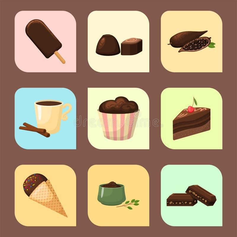 Czekoladowa różnorodna smakowita cukierków i cukierków przekąski wektoru słodka brown wyśmienicie wyśmienita cukrowa kakaowa ilus ilustracja wektor