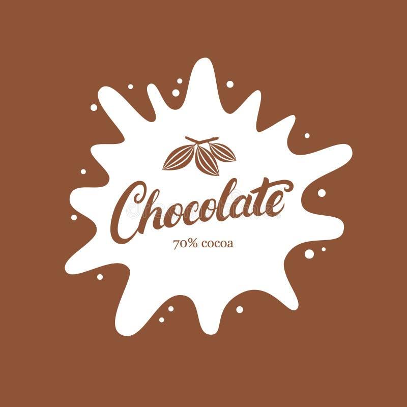 Czekoladowa ręka pisać piszący list loga, emblemat, odznakę lub etykietkę z, pluśnięciem i kakaową fasolą royalty ilustracja
