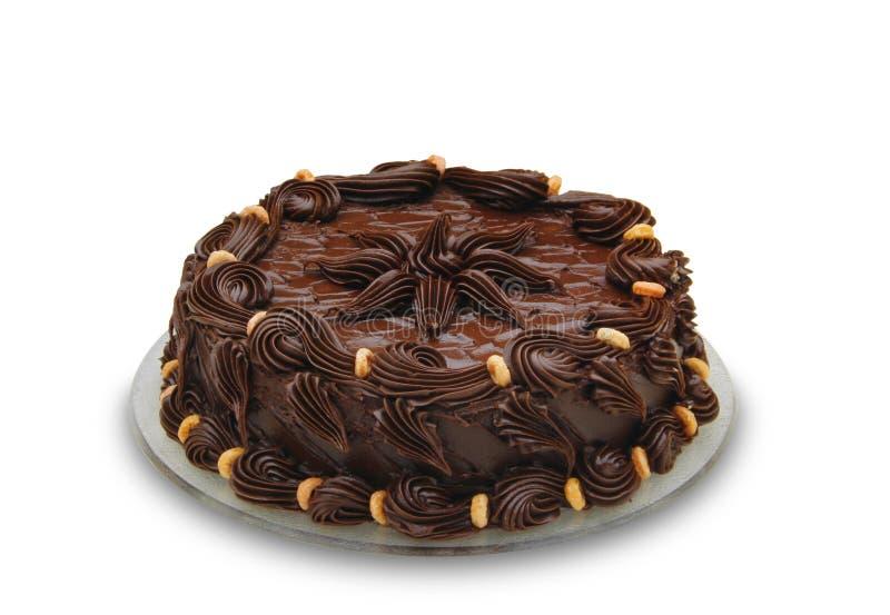 czekoladowe ciasto odznaczony w ciemności obrazy stock