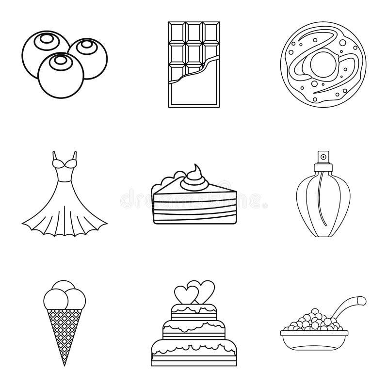 Czekoladowe smakowite karmowe ikony ustawiać, konturu styl ilustracji