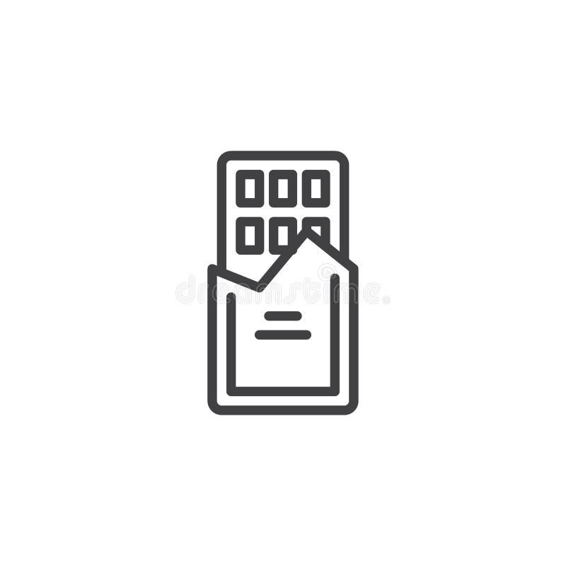 Czekoladowego baru konturu ikona ilustracja wektor
