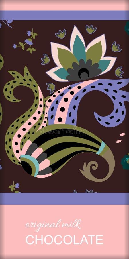 Czekoladowego baru pakunku projekt z etnicznym Paisley ornamentem i abstrakcjonistycznym kwiatem Łatwy editable pakuje szablon ilustracji