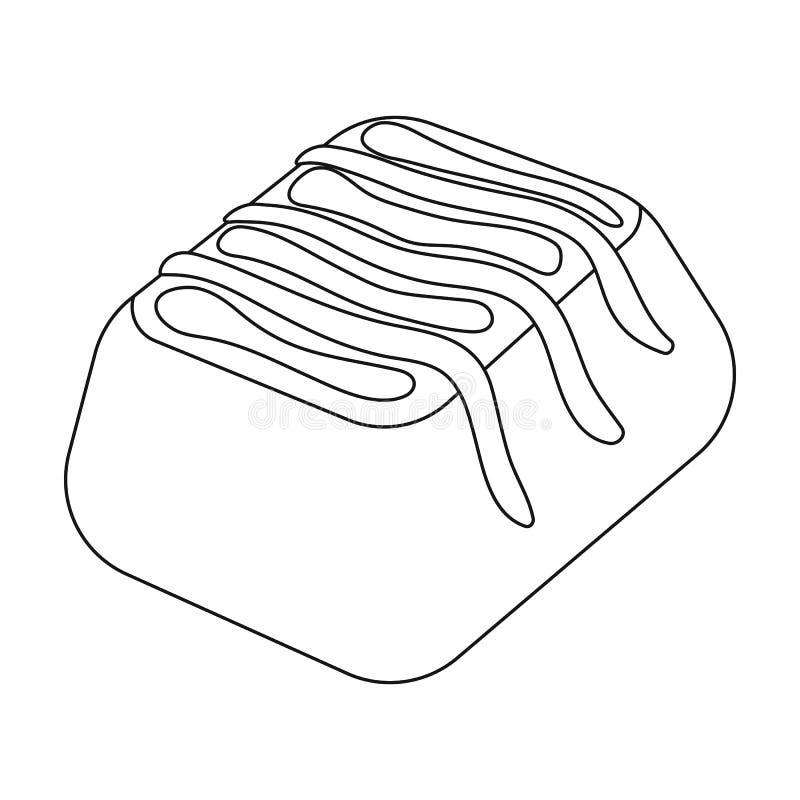 Czekoladowego cukierku ikona w konturu stylu odizolowywającym na białym tle Czekoladowa deseru symbolu zapasu wektoru ilustracja royalty ilustracja
