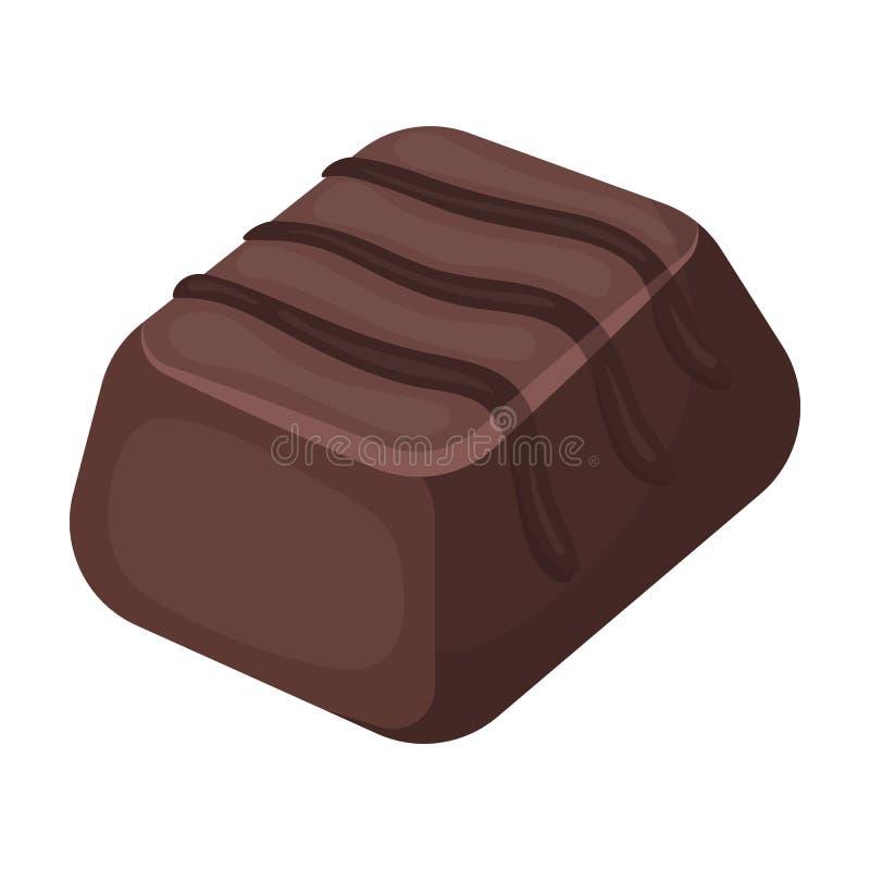 Czekoladowego cukierku ikona w kreskówka stylu odizolowywającym na białym tle Czekoladowa deseru symbolu zapasu wektoru ilustracj ilustracja wektor