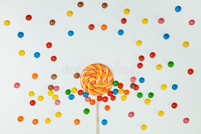 Czekoladowego cukierku lizaka tła Lay mieszkania Biały wzór ilustracji