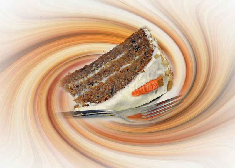Czekoladowego kawowego cappuccino marchwianego torta plasterka luksusowy luksus wiruje wirujący latte fotografia royalty free