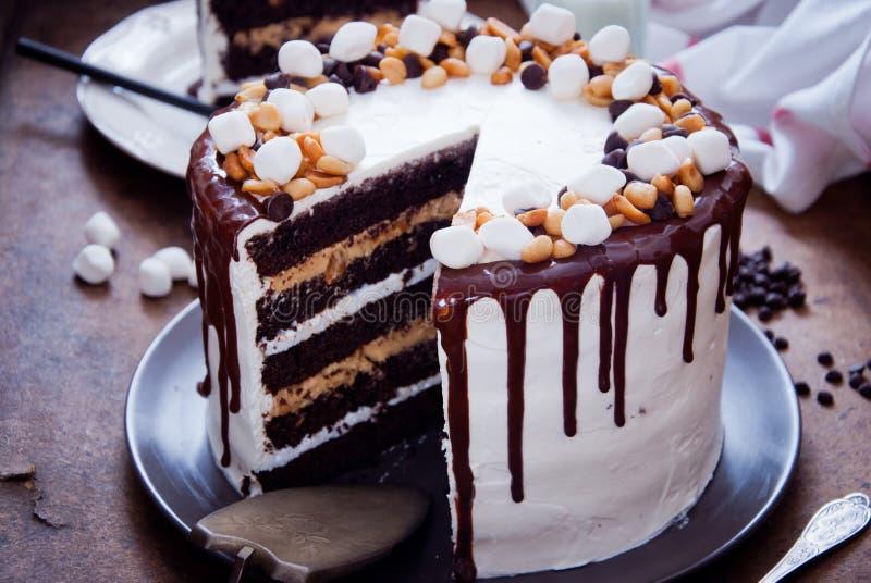 Czekoladowego torta Snickers zdjęcie stock