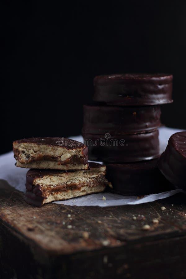 Czekoladowego układ scalony ciastka zdjęcie stock