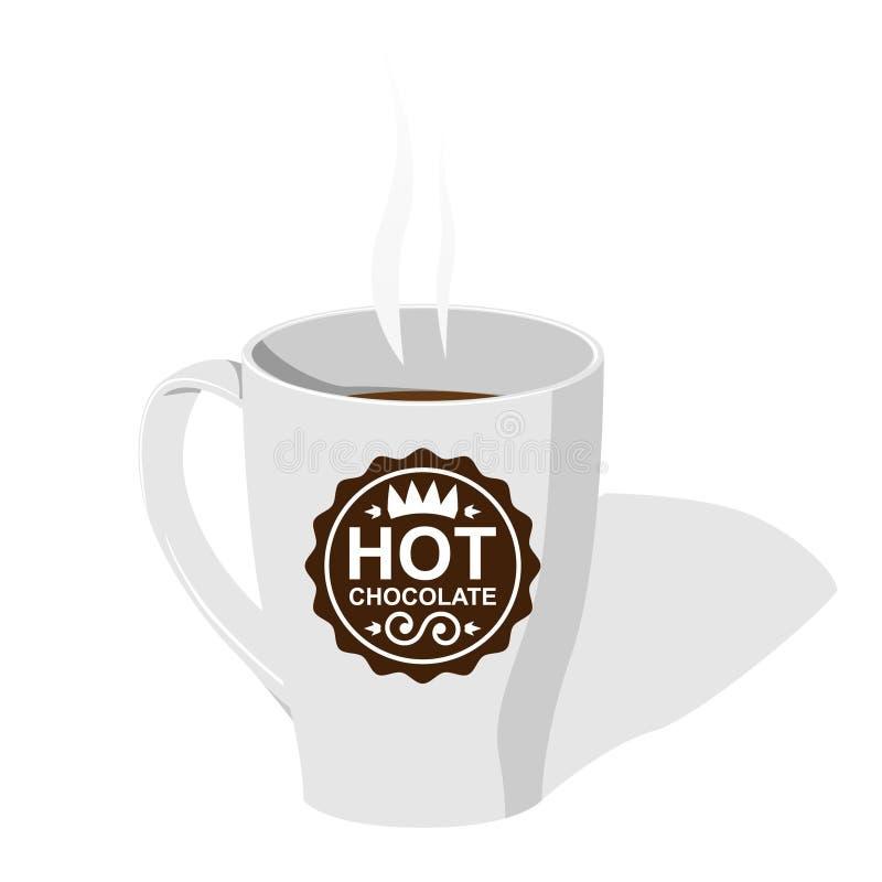 czekoladowej filiżanki powieściowy gorący logo royalty ilustracja