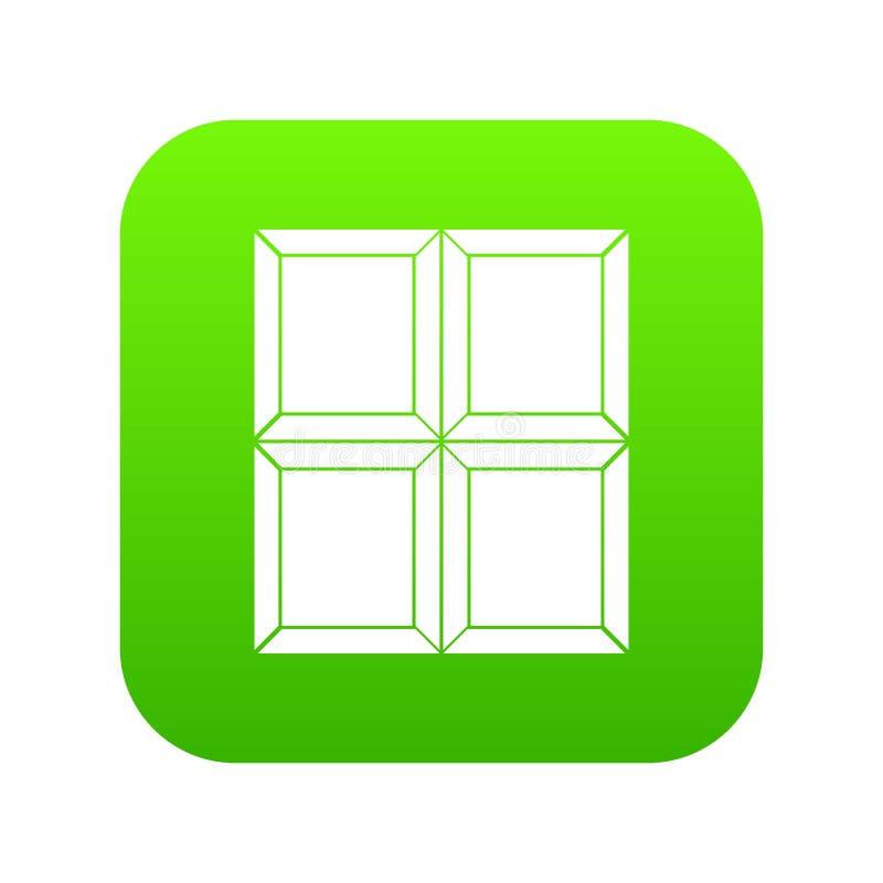 Czekoladowej kawałek ikony cyfrowa zieleń ilustracji