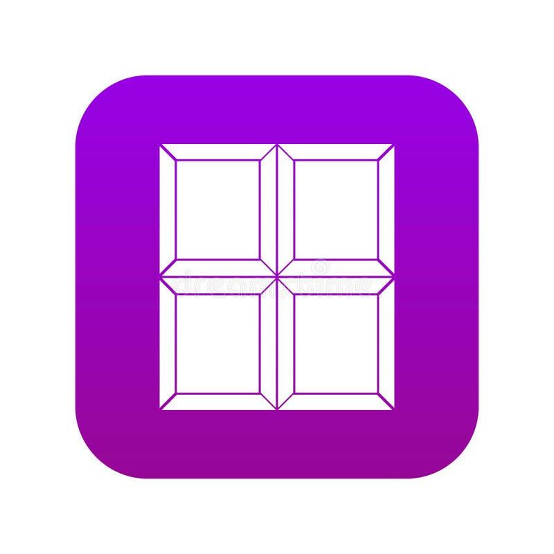 Czekoladowej kawałek ikony cyfrowe purpury ilustracji