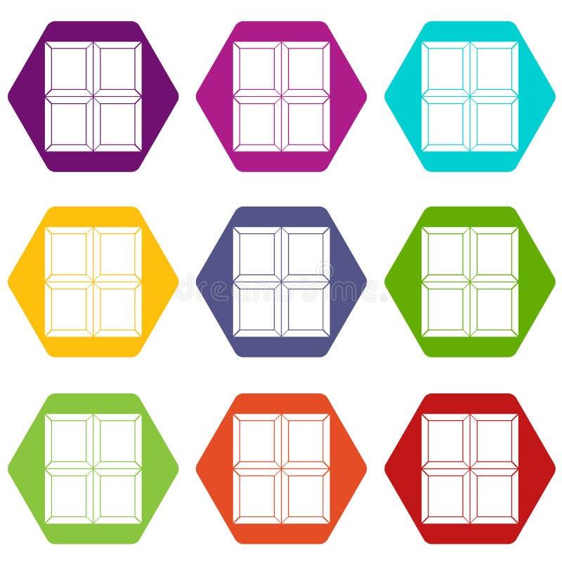 Czekoladowej kawałek ikony koloru ustalony sześciobok ilustracji