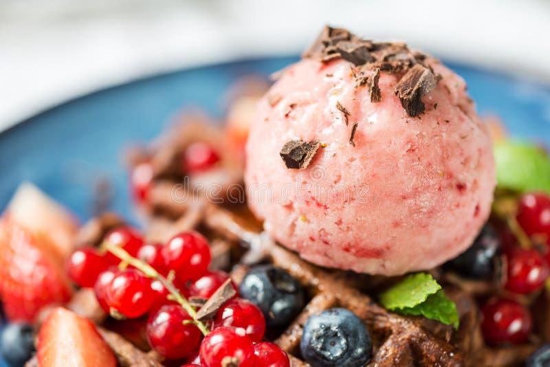 Czekoladowi Belgia gofry z jagodami i Ładną śmietanką obraz stock