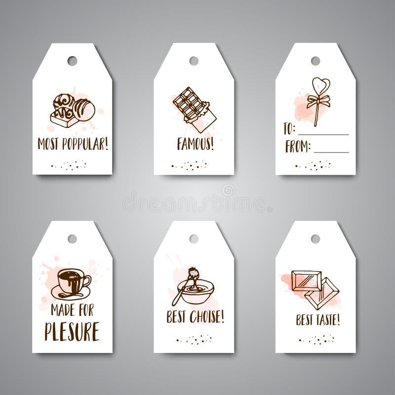Czekoladowi cacao nakreślenia sztandary Projektuje menu dla restauraci, sklep, ciasteczko, kawiarnia, bufet, bar Kakaowych fasoli royalty ilustracja