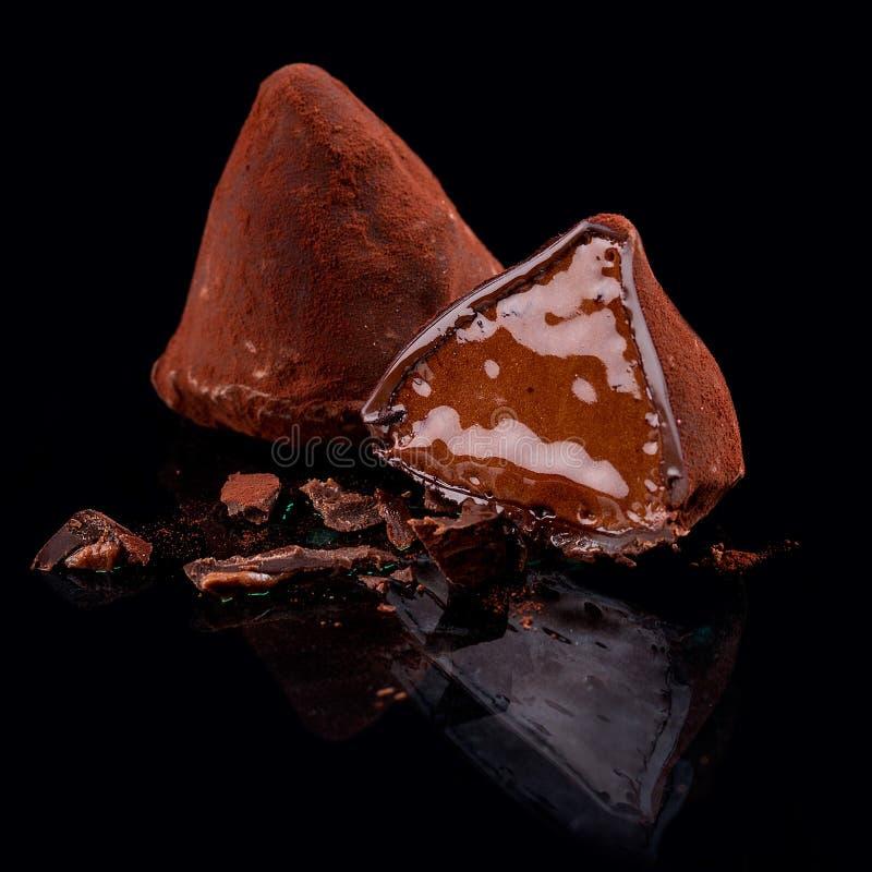 Czekoladowi cukierki, handmade Hiszpańska trufla z rumem zdjęcia stock