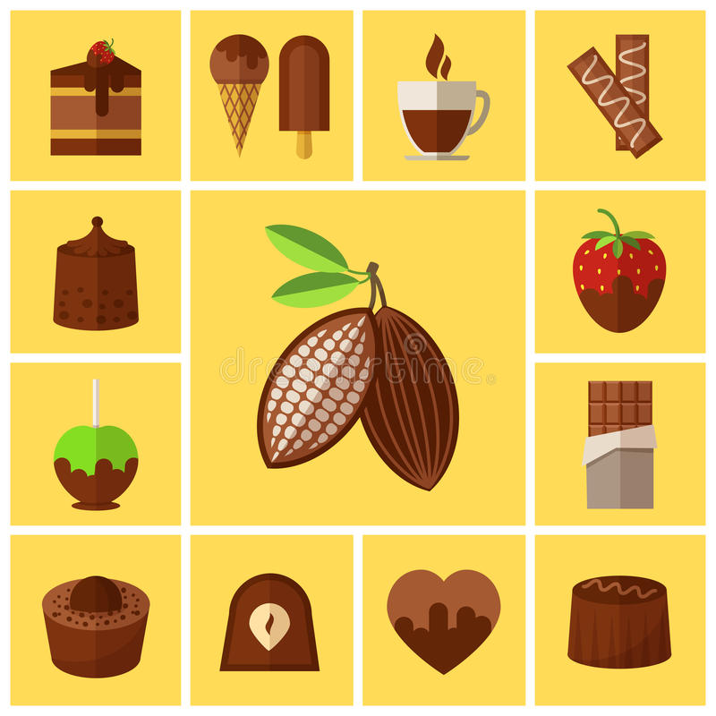 Czekoladowi cukierki, torty i kakaowej fasoli mieszkania ikony, royalty ilustracja