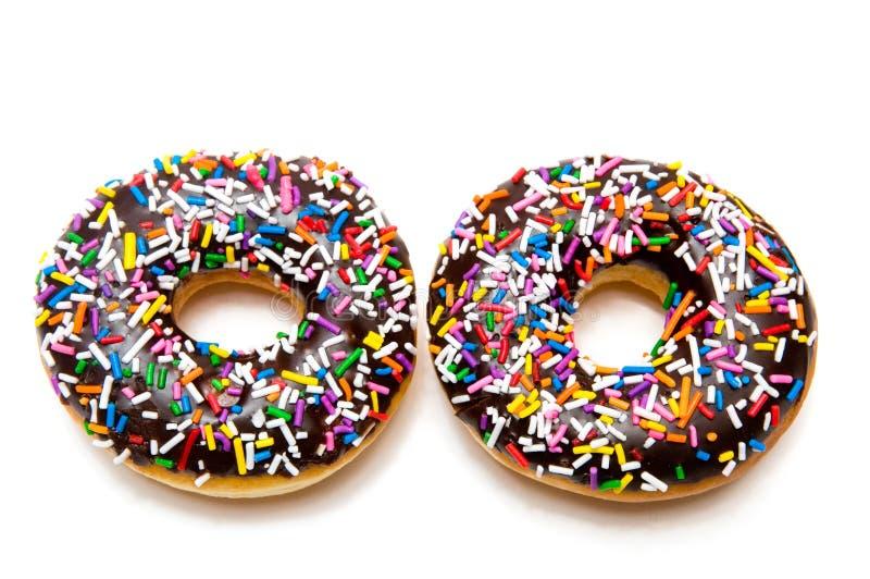 czekoladowi donuts dwa fotografia royalty free