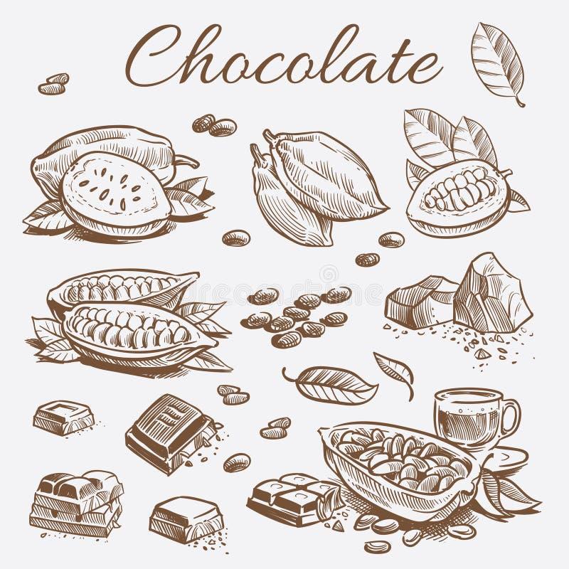 Czekoladowi elementy inkasowi Wręcza rysunkowe kakaowe fasole, czekoladowych bary i liście, ilustracji