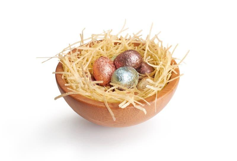 Czekoladowi Wielkanocni jajka zdjęcia stock