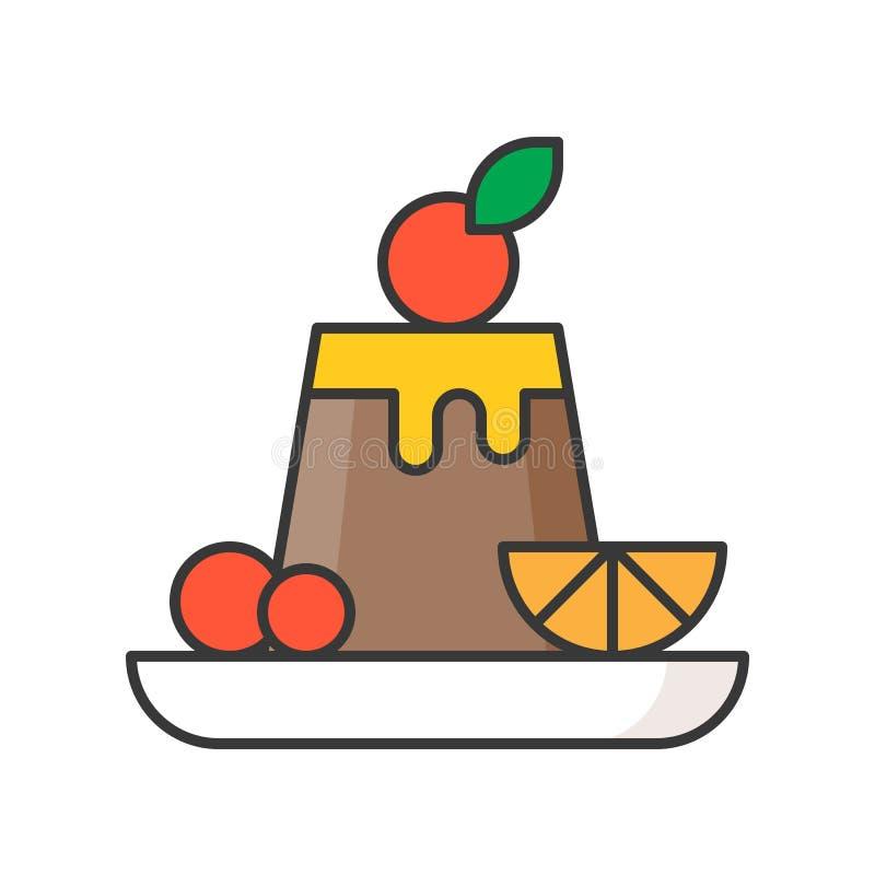 Czekoladowy custard pudding cukierki i ciasto set, wypełniał kontur ilustracja wektor