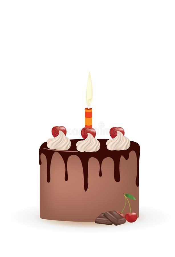 Czekoladowy czereśniowy urodzinowy tort ilustracji