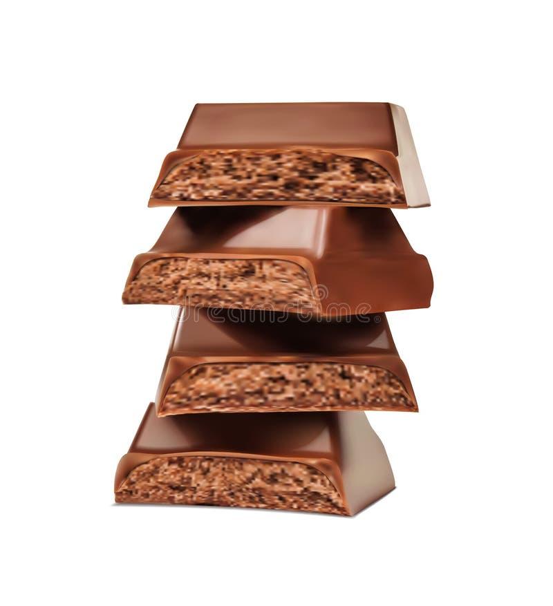 czekoladowy deserowy macro składa cukierki ilustracja wektor