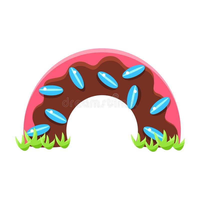Czekoladowy Dougnut połówki most, bajka cukierku ziemi Uczciwy Kształtuje teren element W Dziecięcym Kolorowym projekcie Odizolow royalty ilustracja