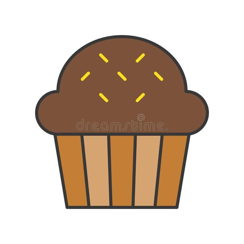Czekoladowy filiżanka tort cukierki i ciasto set, wypełniał kontur ikonę royalty ilustracja