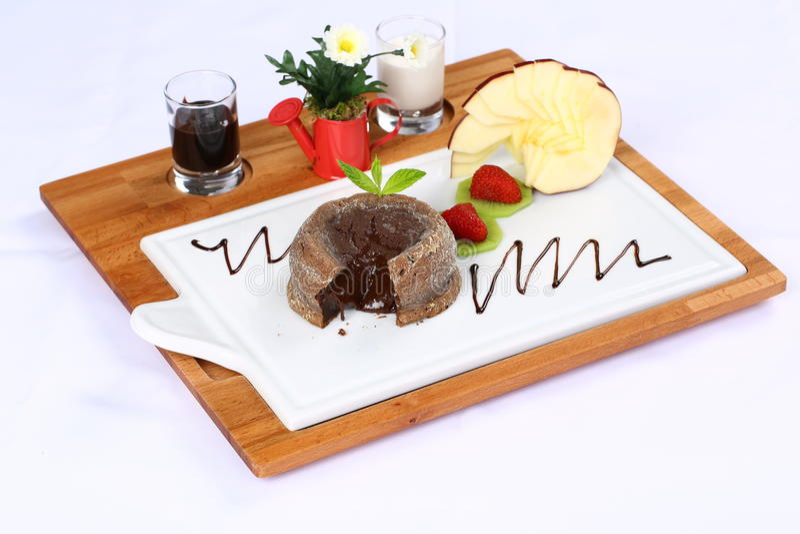 czekoladowy gorący souffle obraz royalty free