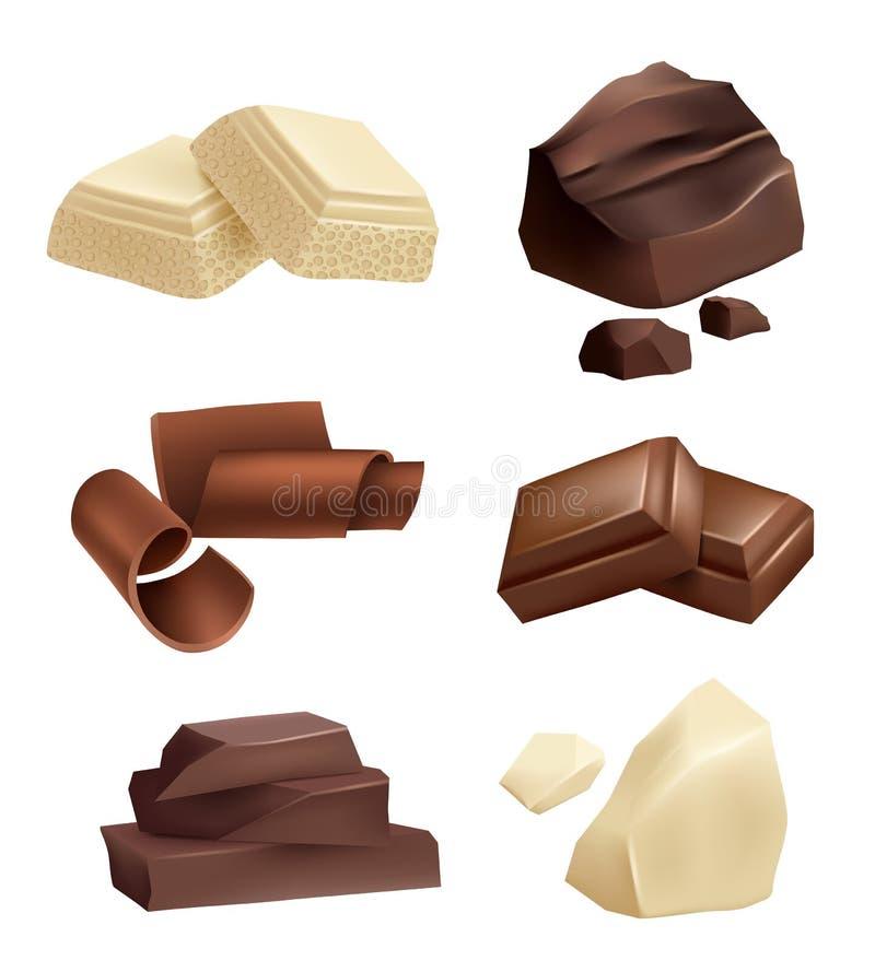Czekoladowy ikona set Realistyczni obrazki czekoladowi różnorodni typ ilustracja wektor