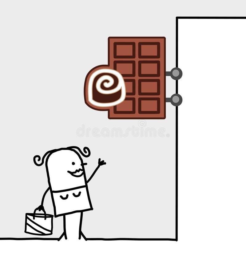 czekoladowy konsumenta sklepu znak ilustracja wektor