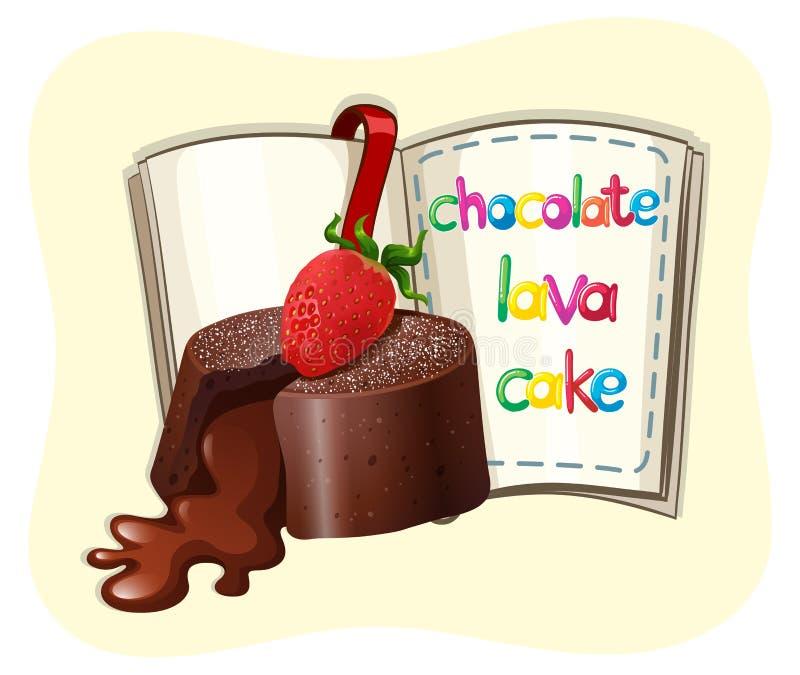Czekoladowy lawa tort i książka ilustracji