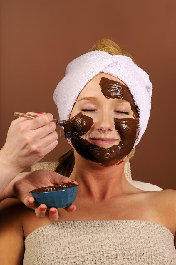 czekoladowy mus maskę twarzy spa organicznych fotografia stock