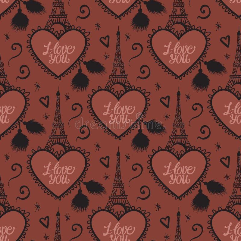 Czekoladowy Paryski bezszwowy wzór Wektorowa wieża eifla z sercem kocham ciebie Słodka miłości tekstura royalty ilustracja