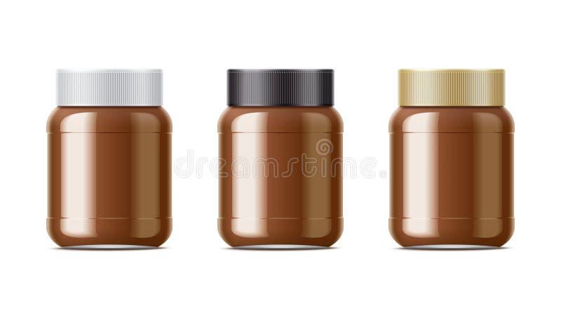 Czekoladowy pasta pakunku set ilustracji