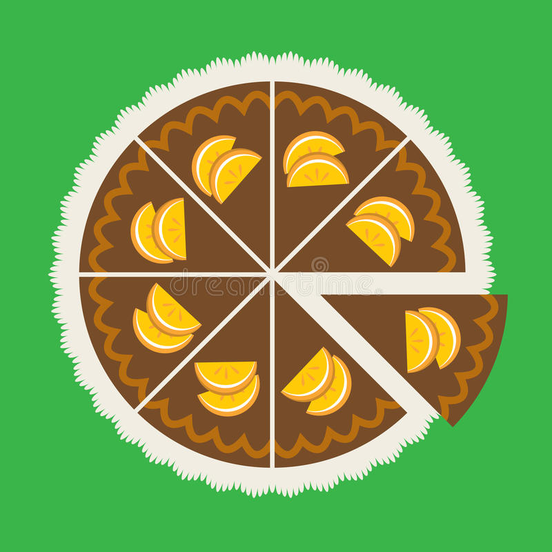 Czekoladowy pomarańcze tort ilustracji